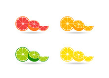 Fresh Citrus Fruits Vector Ico...