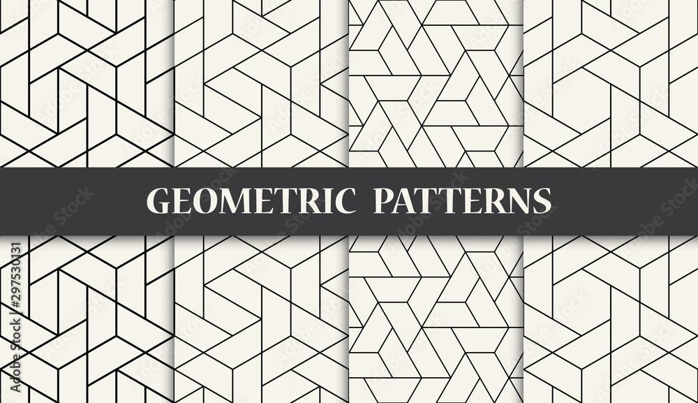 Fototapeta black and white geometric seamless pattern set