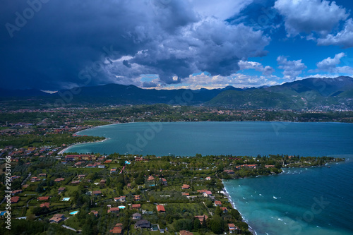 Wall Murals New Zealand Aerial photography with drone, Rocca di Manerba in Garda lake, Italy.