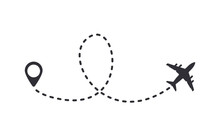 Aircraft Trail With Dotted Lin...