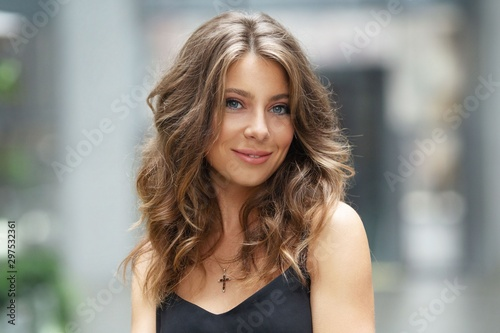 portrait of a beautiful girl. Blurred background