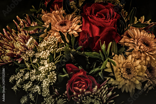 Flowers colored, dark and moody, autumn Fotobehang