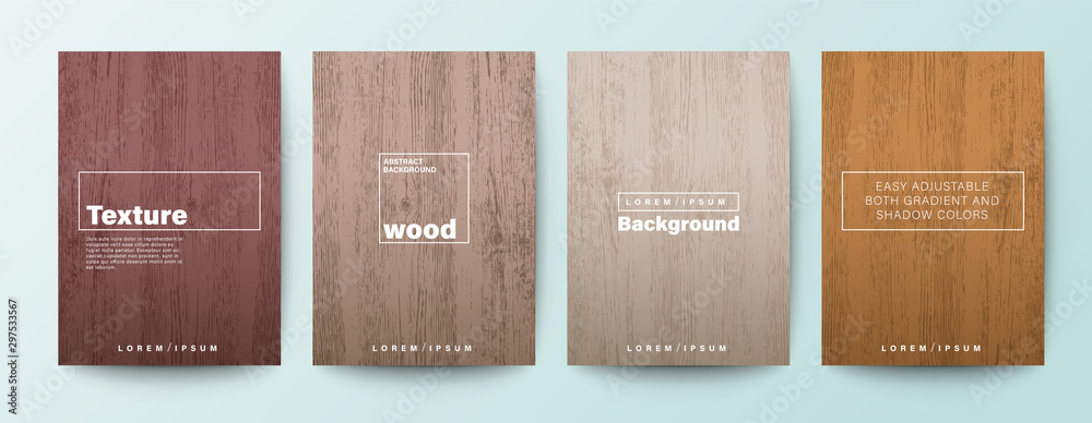 Fototapeta Set of wood texture background. Wooden board background for Brochure, Flyer, Poster, leaflet, Annual report, Book cover, Banner, Presentation, Website, App, wallpaper.
