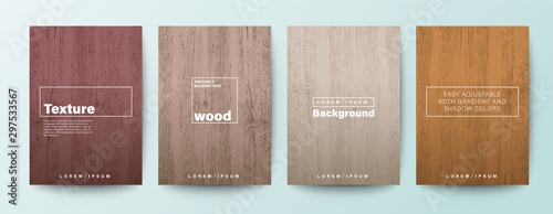 Set of wood texture background. Wooden board background for Brochure, Flyer, Poster, leaflet, Annual report, Book cover, Banner, Presentation, Website, App, wallpaper. - 297533567