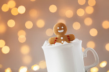 Gingerbread Man In Cup Of Hot ...