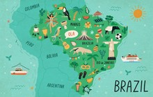 Brazil Map Hand Drawn Vector I...