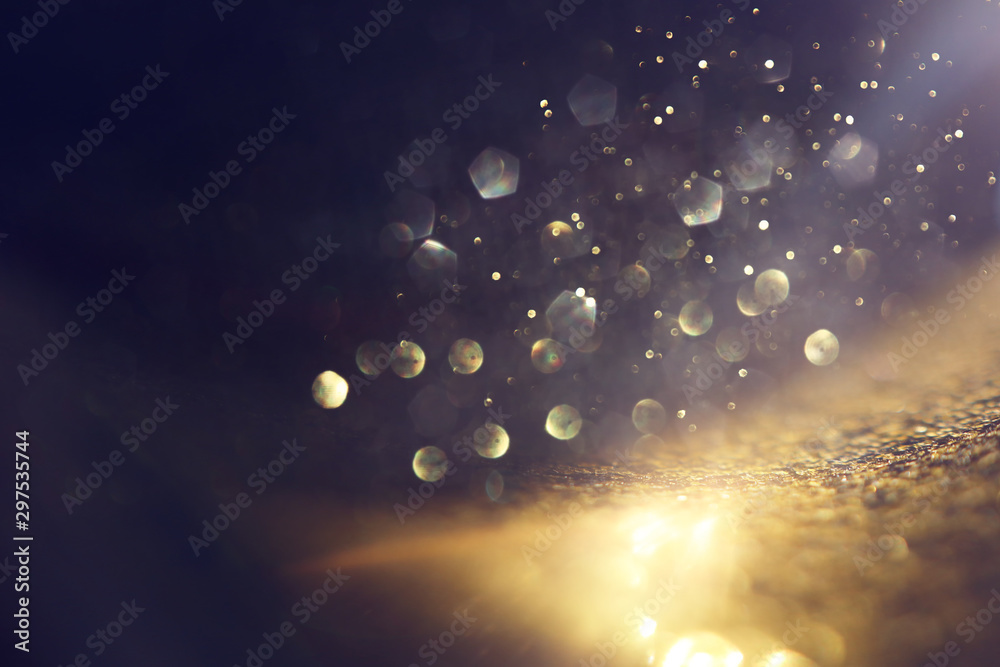 Fototapety, obrazy: background of abstract glitter lights. gold and black. de focused