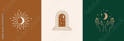 Door and key - vector abstract logo and branding design templates in trendy line Wallpaper Mural
