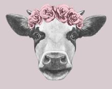 Portrait Of Cow With Floral He...