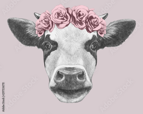 Portrait of Cow with floral head wreath Fotobehang
