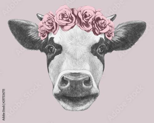Portrait of Cow with floral head wreath Fototapet