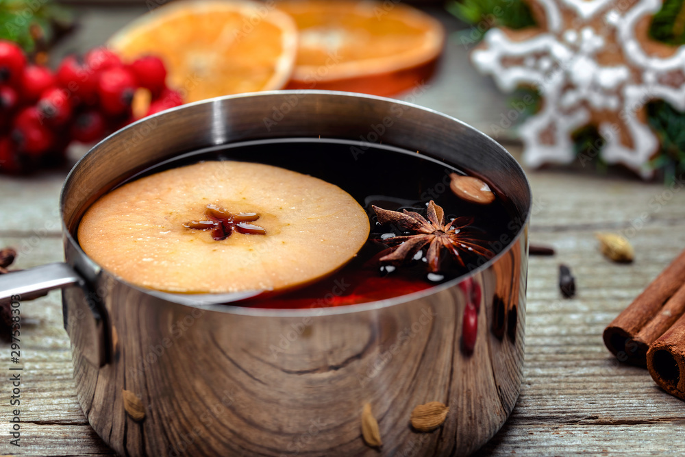 Fototapety, obrazy: Mulled wine in a metal bowl