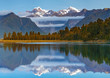 Scenic view of Lake Matheson near the Fox Glacier with reflected views of Aoraki Mount Cook and Mount Tasman in South island, New Zealand, The place of tourist attraction and famous of New Zealand.