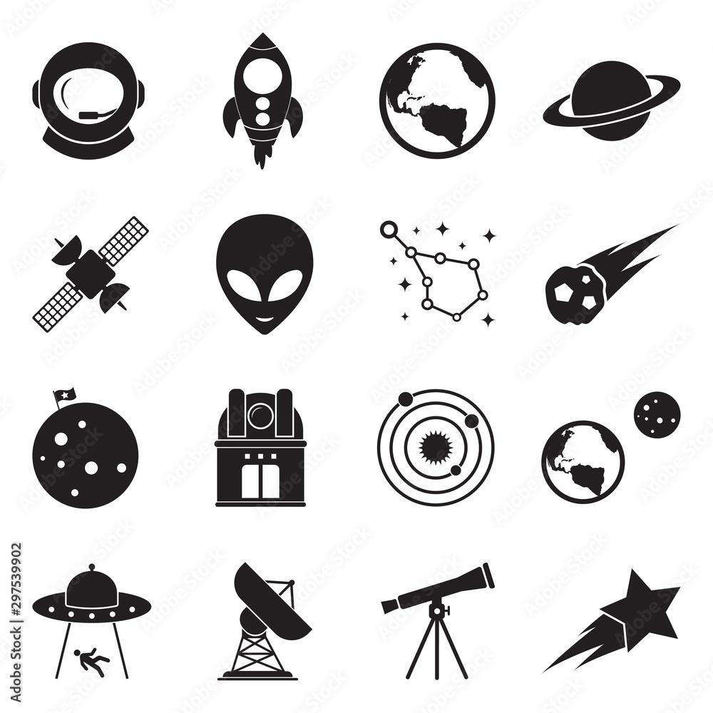 Fototapety, obrazy: Space Icons. Black Flat Design. Vector Illustration.