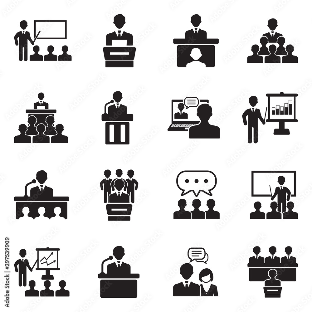 Fototapeta Speech Icons. Black Flat Design. Vector Illustration.