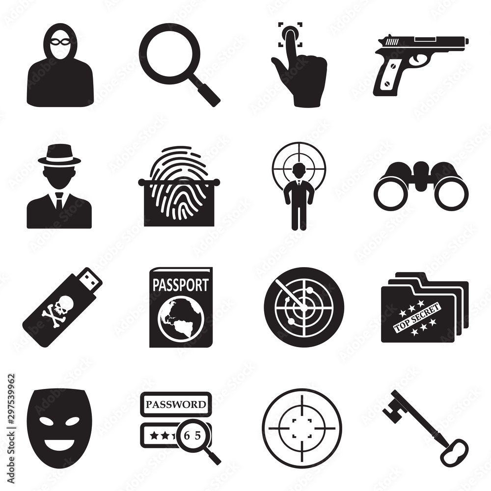 Fototapeta Spy Icons. Black Flat Design. Vector Illustration.