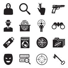 Spy Icons. Black Flat Design. Vector Illustration.