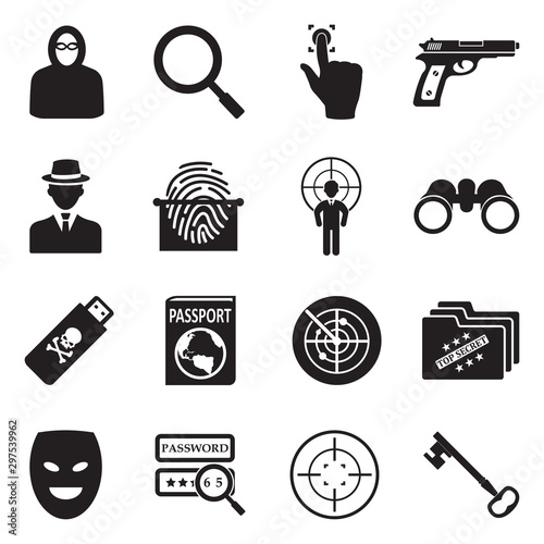 Cuadros en Lienzo Spy Icons. Black Flat Design. Vector Illustration.