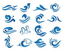 Wave Water Logo Design Template.