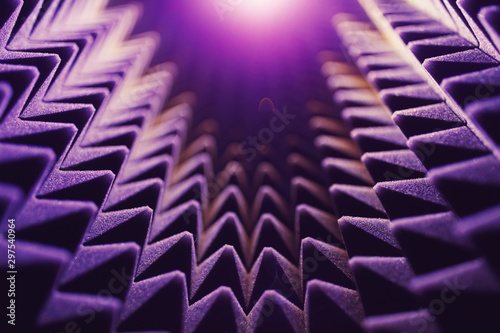 acoustic foam pyramid abstract background with glow light Canvas Print
