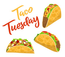 Traditional Taco Tuesday Poster With Delicious Tacos, Mexican Food