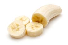 Peeled Ripe Banana Slices Isolated On White Background
