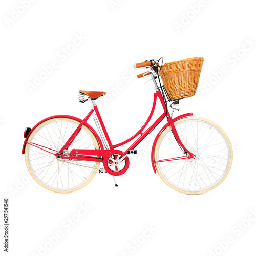 Türaufkleber Fahrrad Red Retro Vintage Bicycle Isolated on White Background. Lady Beach Cruiser Bicycle Side View. Women's Multi-Speed Traveler Bike. Lightweight Classic Ladies Bike with Brown Wicker Basket
