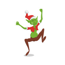 Thin Goblin In Christmas Hat. Green Troll In Cartoon Style. Fantasy Monster In Santa Cotume. Jumping Gremlin