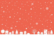 Christmas Little Town Silhouette On Red Background