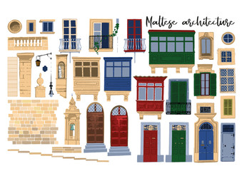 Vector collection of traditional maltese architectural elements with various decorations and colors