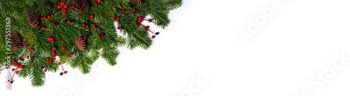 Obraz Fir tree branch frame on white - fototapety do salonu