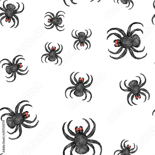 Photo sur Toile Papillons dans Grunge Watercolor hand drawn artistic spooky Halloween black spider net cartoon vintage seamless pattern