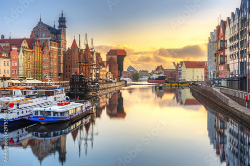 Beautiful sunrise over Motlawa river in Gdansk, Poland.