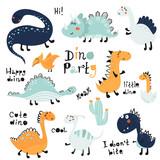 Fototapeta Dinusie - Set of cute dinosauts for children print