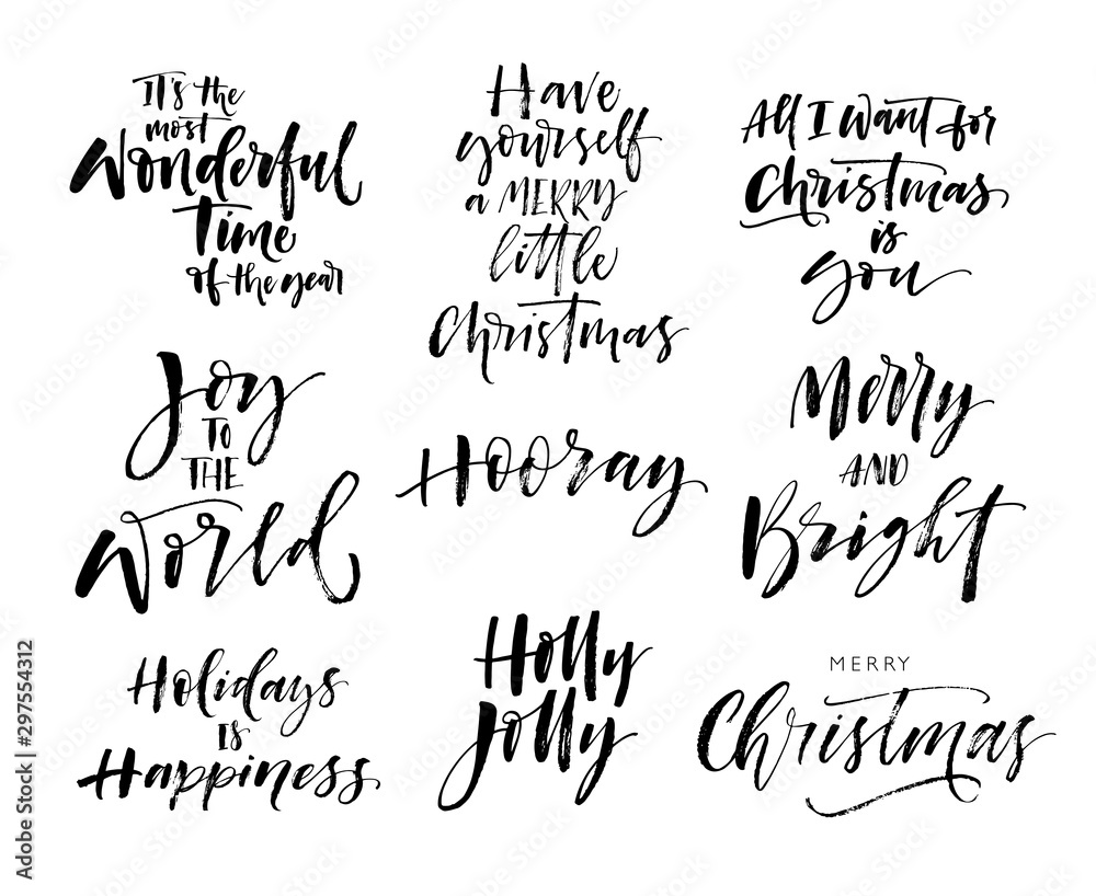 Fototapety, obrazy: Collection of hand drawn holiday lettering. Modern vector brush calligraphy. Ink illustration with hand-drawn lettering.