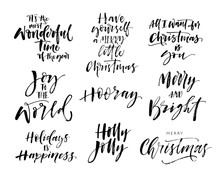 Collection Of Hand Drawn Holiday Lettering. Modern Vector Brush Calligraphy. Ink Illustration With Hand-drawn Lettering.