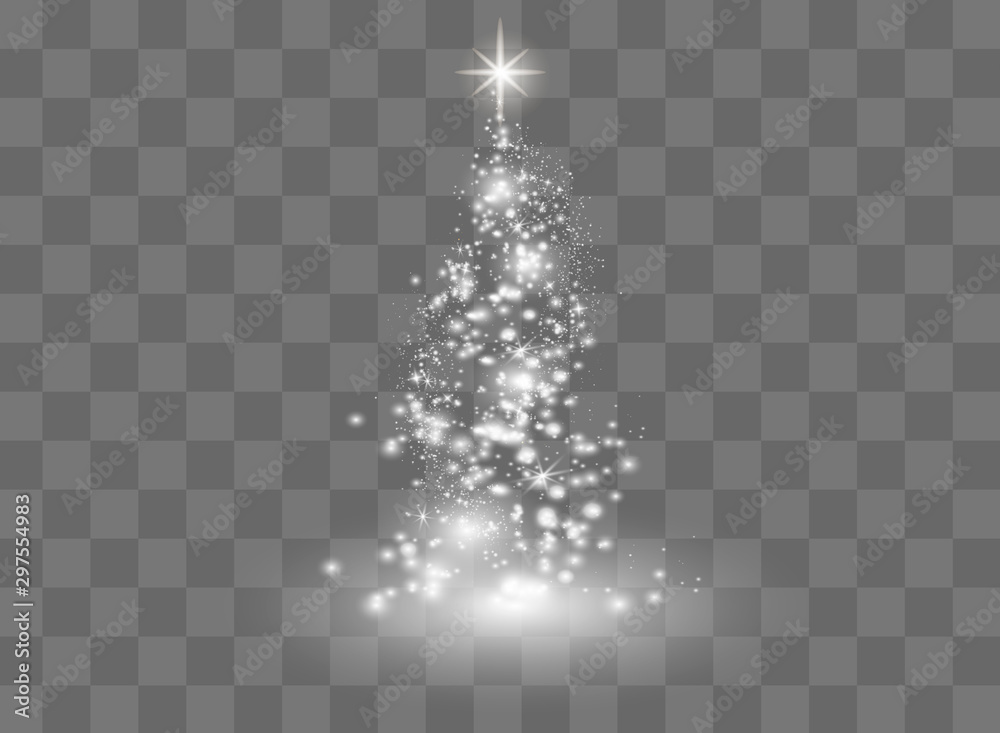 Fototapety, obrazy: Illumination Lights Shiny Christmas tree Isolated on Transparent Background. White tree as symbol of Happy New Year, Merry Christmas holiday celebration. Bright light decoration design. Vector.