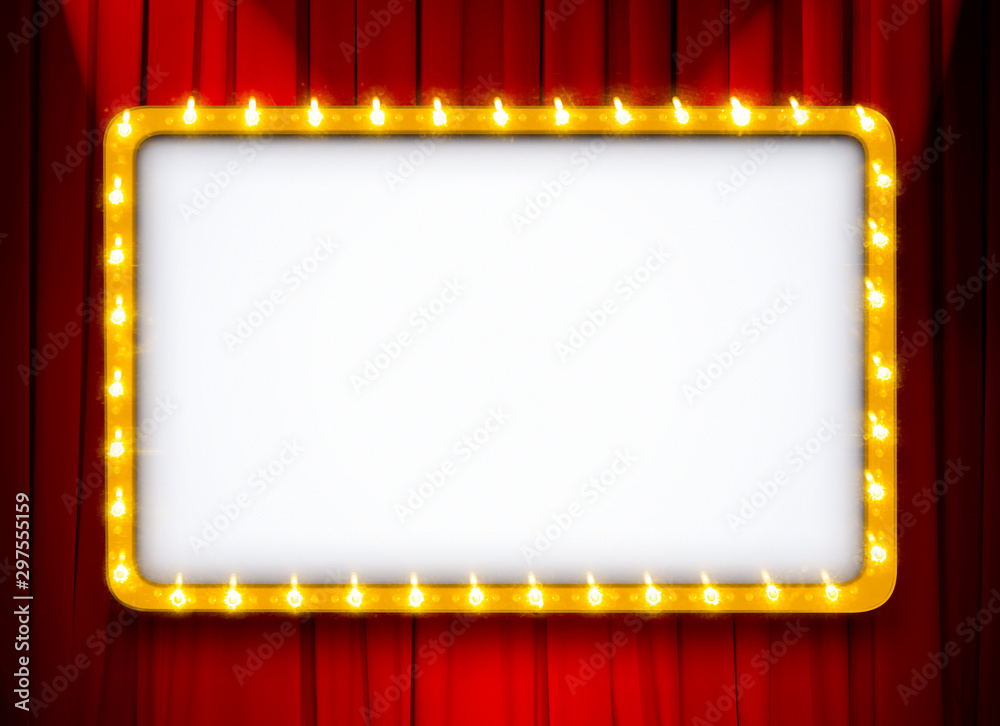 Fototapety, obrazy: light sign with gold frame on red theatre or cinema curtain