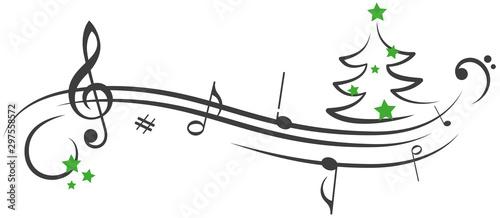Notenschlüssel Weihnachtsbaum gruene Sterne Noten Vector Illustration Fototapete
