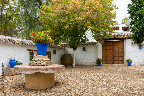 Typical Andalusian outdoor patio in Malaga, Spain Canvas Print