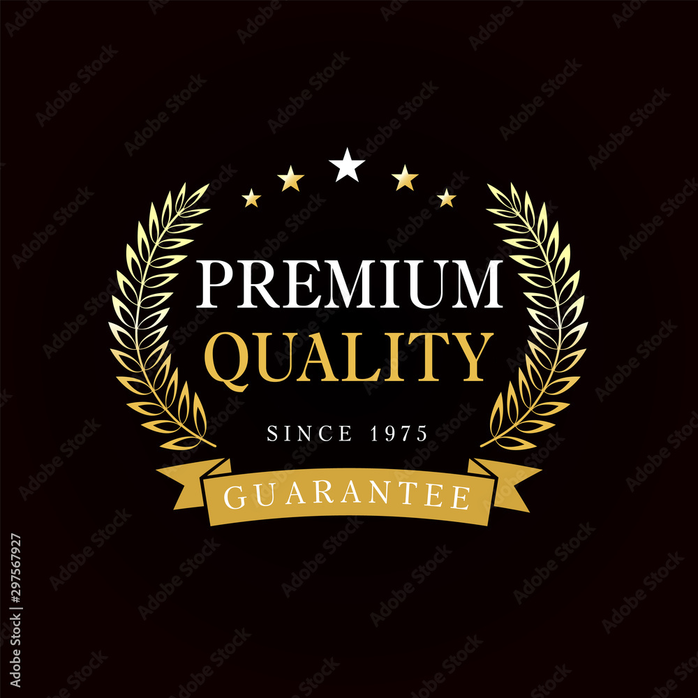 Fototapeta Premium quality emblem with golden branches and ribbon. Gold premium quality badge, rosette with ribbon on black background