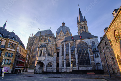 Photo View from Katschhof square at Aachen Cathedral (German: Aachener Dom) is a Rom
