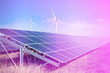 canvas print picture - wind generators and solar panels