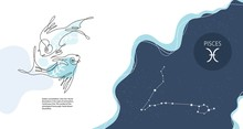 Zodiac Background. Pisces Constellation. The Element Of Water. Horizontal Banner.