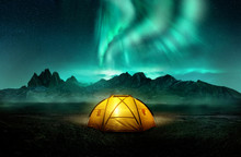 A Glowing Yellow Camping Tent ...