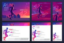 Runner Marathon Design Blank SET Presentation, Booklet, Print, Advertising