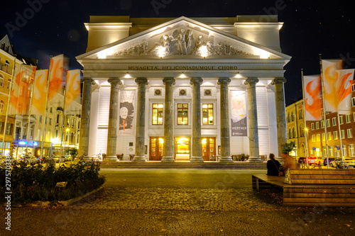 Nightshots of illuminated facade of Theater Aachen, which is the principal venue for operas, musical theatre and plays Canvas Print