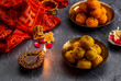 Motichoor Ladoo or Laddu - made from fine bundi, ball shaped sweets popular in indian subcontinent cooked with sugar, ghee or oil