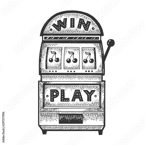 Slot machine gambling device sketch engraving vector illustration Poster Mural XXL