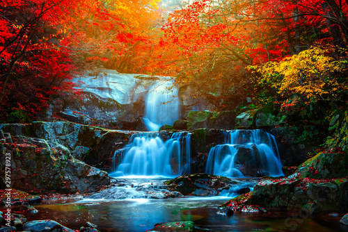 Leaves change color and waterfall at Seoraksan nation park in South Korea.